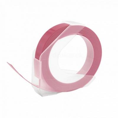Dymo Omega, 9mm x 3m, text alb / roz negru, banda compatibila