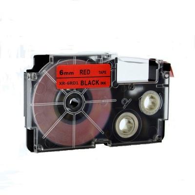 Banda compatibila Casio XR-6RD1, 6mm x 8m text negru / fundal rosu