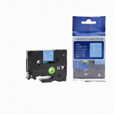 Banda compatibila Brother TZ-525 / TZe-525, 9mm x 8m, text alb / fundal albastru
