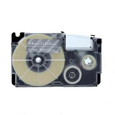 Banda compatibila Casio XR-24AX 24mm x 8m text alb / fundal transparent