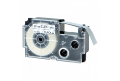 Banda compatibila Casio XR-12AX 12mm x 8m text negru / fundal transparent