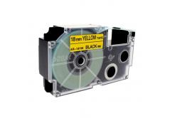 Banda compatibila Casio XR-18YW1, 18mm x 8m text negru / fundal galben