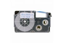 Banda compatibila Casio XR-18WEB 18mm x 8m text albastru / fundal alb