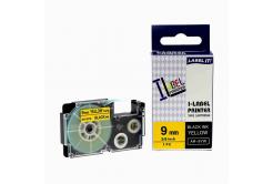 Banda compatibila Casio XR-9YW1, 9mm x 8m text negru / fundal galben
