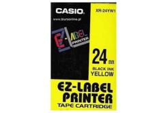 Casio XR-24YW1, 24mm x 8m, text negru / fundal galben, banda originala