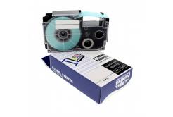 Banda compatibila Casio XR-12SR1 12mm x 8m text negru / fundal argintiu