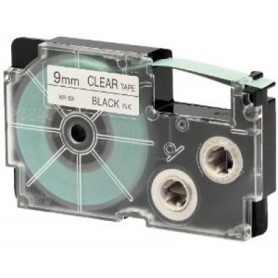 Casio XR-9X1, 9mm x 8m, text negru / fundal transparent, banda originala