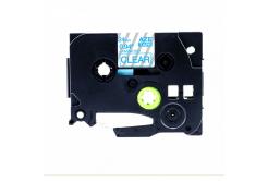 Banda compatibila Brother TZ-153 / TZe-153, 24mm x 8m, text albastru / fundal transparent