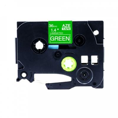 Banda compatibila Brother TZ-765 / TZe-765, 36mm x 8m, text alb / fundal verde
