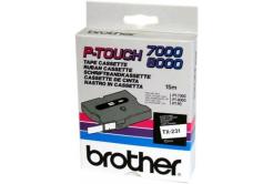 Brother TX-231, 12mm x 15m, text negru / fundal alb, banda original