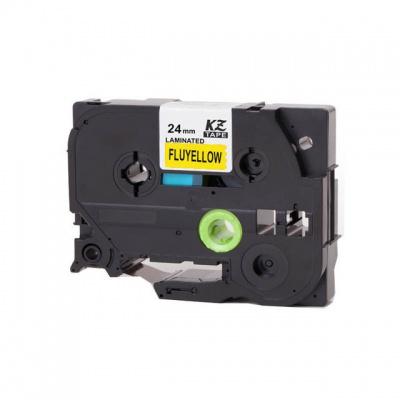 Banda compatibila Brother TZ-C51 / TZe-C51, semnal 24mm x 8m, text negru / fundal galben