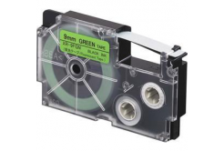 Casio XR-9FGN , 9mm x 8m, černý tisk / signální zelený podklad, kompatibilní páska