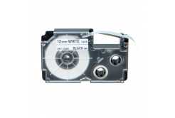 Banda compatibila Casio XR-12WE1, 12mm x 8m text negru / fundal alb