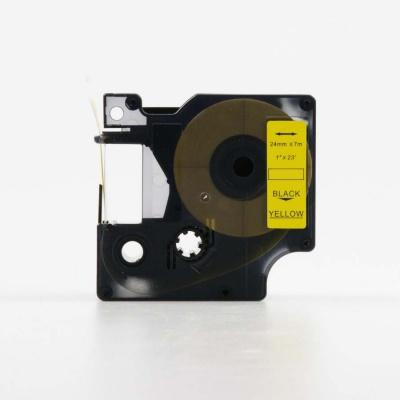 Banda compatibila Dymo 53718, S0720980, 24mm x 7m, text negru / fundal galben