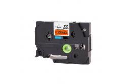 Banda compatibila Brother TZ-B31 / TZe-B31, semnal 12mm x 8m, text negru / fundal portocaliu