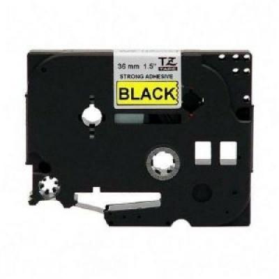 Banda compatibila Brother TZ-S661 / TZe-S661,36mm x 8m, puternic adeziva, text negru / fundal galben