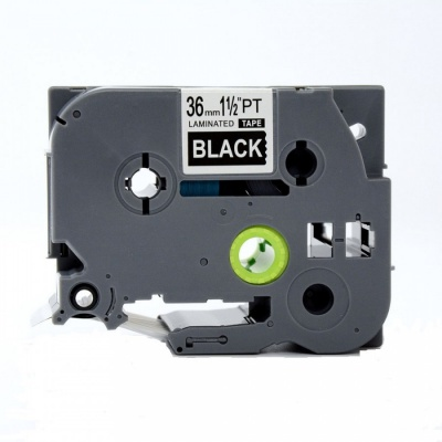 Banda compatibila Brother TZ-365 / TZe-365, 24mm x 8m, text alb / fundal negru