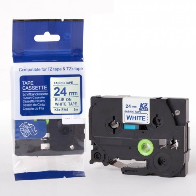 Bandă de călcat compatibilă Brother TZe-FA5, 24mm x 3m, albastru text / fundal alb