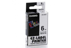 Casio XR-6WE1, 6mm x 8m, text negru / fundal alb, banda originala