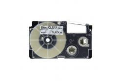 Banda compatibila Casio XR-6X1, 6mm x 8m text negru / fundal transparent
