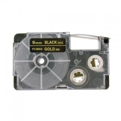 Banda compatibila Casio XR-9BKG 9mm x 8m text auriu / fundal negru