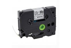 Banda compatibila Brother HSe-211 5,8mm x 1,5m, contractabila, text negru / fundal alb